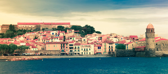 Colors french town and castle Collioure