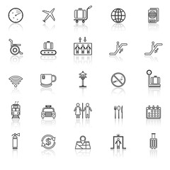 Airport line icons with reflect on white background