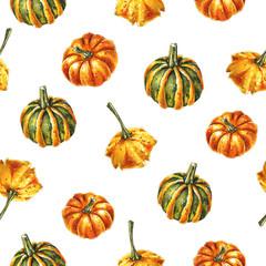 Seamless pattern of pumpkins