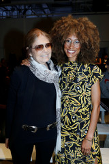 Gloria Steinem and Teen Vogue editor Elaine Welteroth pose for a picture before the Prabal Gurung Spring/Summer 2018 collection during New York Fashion Week in the Manhattan borough of New York