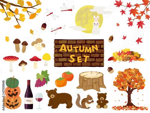 秋 イラスト素材セットfotoliacom の ストック画像とロイヤリティ
