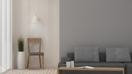 The interior work space room furniture 3d rendering and background decoration in hotel - minimal style concept
