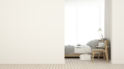 Bedroom space interior minimal and wall decoration empty in apartment- 3D rendering