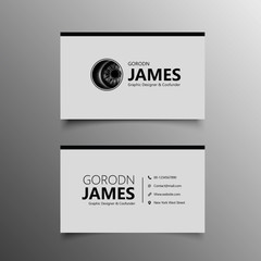 Modern business card in gray and black