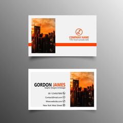Abstract business card with orange detail