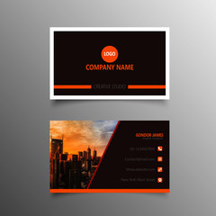 Modern business card in balck and orange