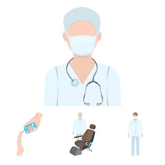 Doctor in a face mask, dentist, medical staff, a blood test for sugar. Medicineset collection icons in cartoon style vector symbol stock illustration web.