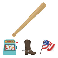 Cowboy boots, national flag, slot machine, baseball bat. USA country set collection icons in cartoon style vector symbol stock illustration web.