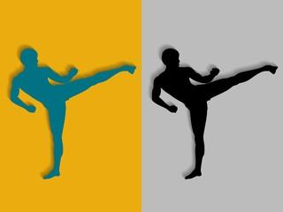 illustration of a kickboxer, vector draw