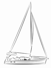 illustration of yacht. vector drawing