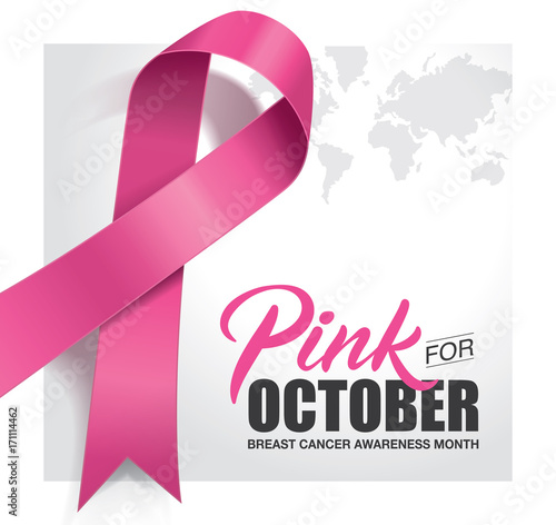 Breast Cancer Awareness Month Poster Design With Pink Ribbon Stock