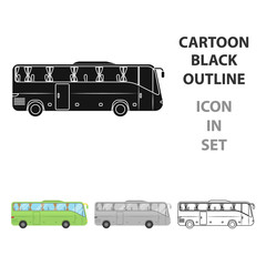 Green tour bus icon in cartoon style isolated on white background. Rest and travel symbol stock vector illustration.