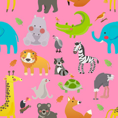 Illustration drawing style set of animal