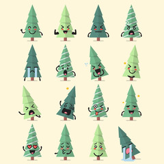 Christmas tree character emoji set