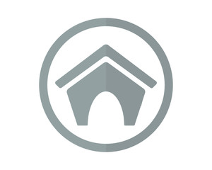 circle gray pet house icon image vector