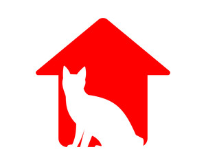 white cat silhouette red pet house icon image vector