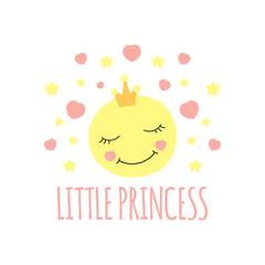 Cute moon in crown print vector. Little princess background. Design for girls poster, illustration, fashion patches stickers, t-shirt apparel clothing or children fabric.