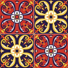 Tile pattern vector seamless with Moorish motifs. Portuguese azulejos, mexican talavera, spanish, sicily italian majolica or moroccan arabic design. Floor tiles print wall ceramic or fabric.