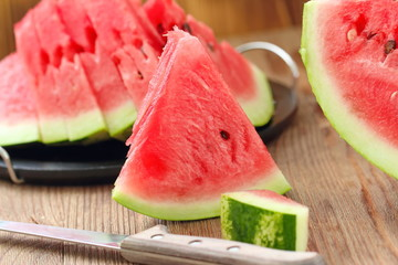 Watermelon slices on the table in summertime