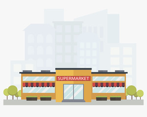 Modern supermarket building with city skyline on background in flat style. Colored isolated vector illustration.