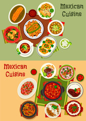 Mexican cuisine dishes dinner set