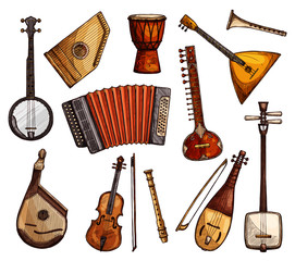 Ethnic musical instruments sketches set