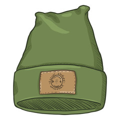 Vector Cartoon Casual Textile Cap with Brown Leather Label.