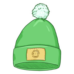 Vector Cartoon Textile Cap with Pompom