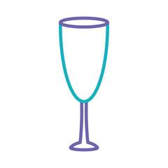 flat line colored  wine  glass  over white  background vector illustration
