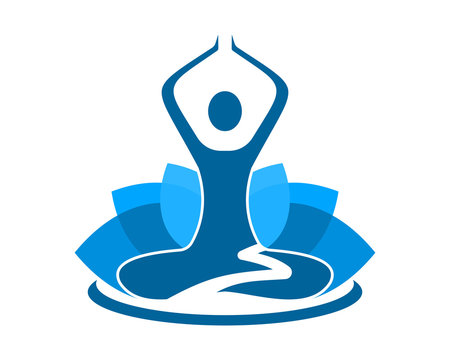 blue yoga silhouette icon image vector