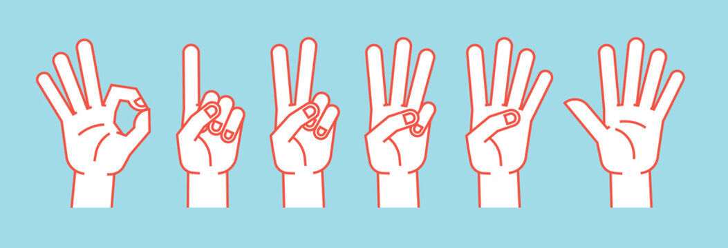 Count on fingers. Gesture. Stylized hands showing different numbers. Icons. Vector.