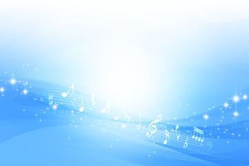 音符とブルーのウェーブ 抽象的な背景