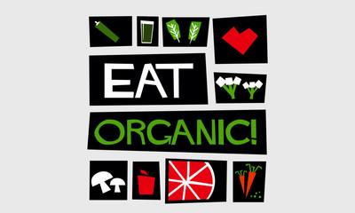 Eat Organic (Flat Style Vector Illustration Poster Design)