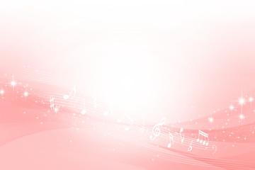 音符とピンクのウェーブ 抽象的な背景
