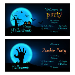 Halloween leaflet templates. Welcome to halloween and zombie party. Vector halloween illustrations with pumpkins, bats, owl, tree and zombie hand.