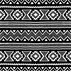 Seamless ethnic and tribal pattern. Handmade. Horizontal stripes. Black-and-white print for your textiles.