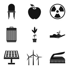 Alternative energy icon set, simple style