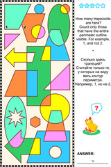 Educational visual math puzzle: Find and count all the trapezoids. Answer included.