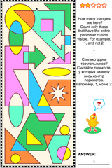 Educational visual math puzzle: Find and count all the triangles. Answer included.
