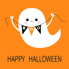 Flying ghost spirit holding bunting flag Boo. Happy Halloween. Scary white ghosts. Cute cartoon spooky character. Smiling face, hands. Orange background. Greeting card. Flat design.