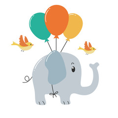 Cute elephant flying with balloons and birds