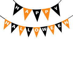 Happy Halloween card. Bunting flags pack letters. Flag garland. Party decoration element. Hanging text on rope thread. Black orange triangle set. Flat design. Isolated White background.