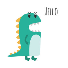 Cute Green Dinosaur Illustration