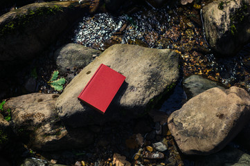 Red book on rocks in river