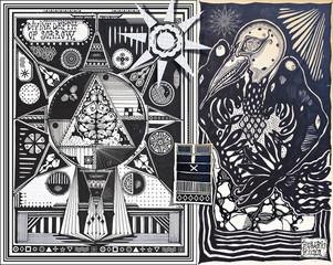 Wall Murals Imagination Manoscritti alchemici e misteriosi con graffiti,tarocchi,schizzi,disegni e simboli esoterici,astrologici e alchemici