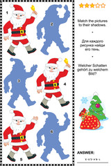 Visual puzzle or riddle with Santa Claus: Match the pictures to their shadows. Answer included.