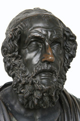 Aluminium Prints Historic monument Bronze sculpture head of Homer ancient Greek poet isolated