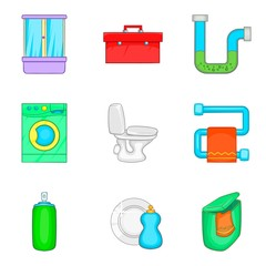 House cleaning icon set, cartoon style