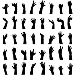 Collection of hands silhouettes