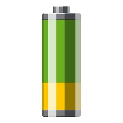 Cylinder electric battery icon, cartoon style